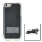 Protective Detachable PC + Silicone Case w/ Holder for iPhone 5 - Black + Grey