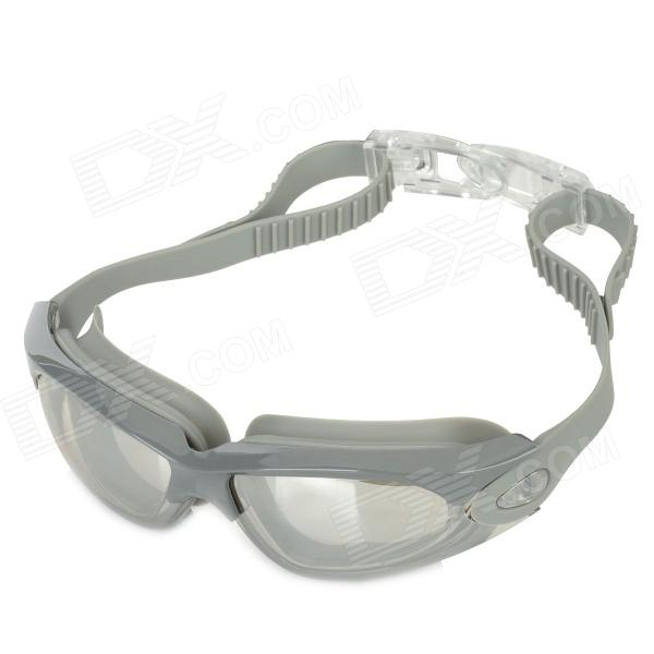 928M PC Lens Silicone Strap Swimming Goggles - Grey