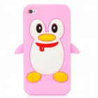 Penguin with Scarf Style Protective Silicone Back Case for Iphone 4 / 4S - Pink + White