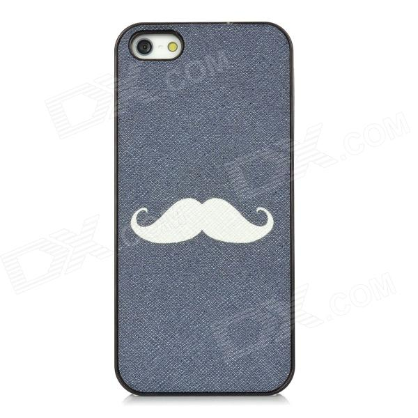 Funny Mustache Style Protective Plastic Back Case for Iphone 5 - Dark Blue + White + Black