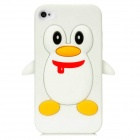 Penguin with Scarf Style Protective Silicone Back Case for Iphone 4 / 4S - White