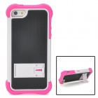 Detachable Protective Plastic + Silicone Back Case w/ Stand for iPhone 5 - Deep Pink + White + Black