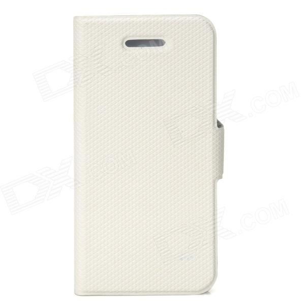 Protective PU Leather Flip-Open Case for Iphone 5 - White omo protective pu leather flip open case for iphone 4 4s white