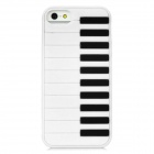 Piano Style Protective TPU Back Case for Iphone 5 - White + Black