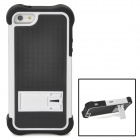Detachable Protective Plastic + Silicone Back Case w/ Stand for iPhone 5 - White + Black