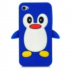 Cute Penguin Style Protective Silicone Back Case for iPhone 4 / 4S - Dark Blue