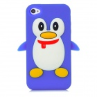 Penguin with Scarf Style Protective Silicone Back Case for Iphone 4 / 4S - Blue + White