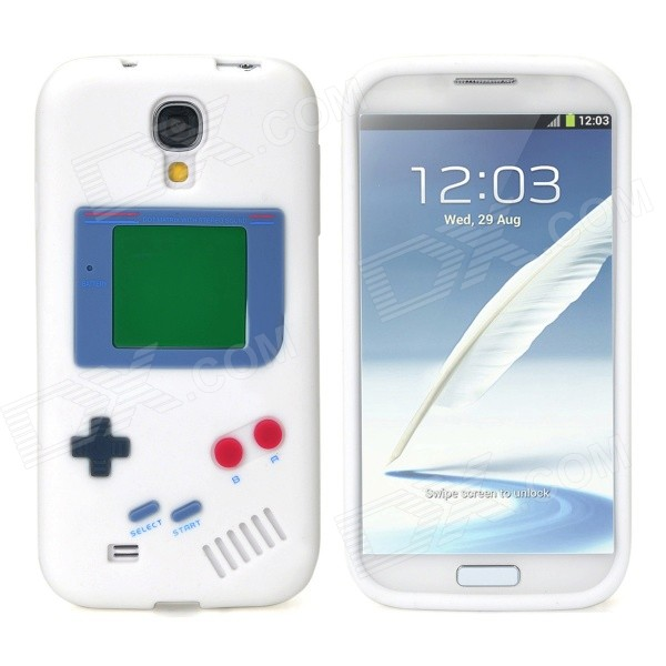 Retro Gameboy Style Protective Silicone Back Case for Samsung Galaxy S4 i9500 - White cool basketball skin pattern silicone protective back case for samsung galaxy s4 i9500 black red