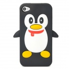 Penguin Style Protective Soft Silicone Back Case for Iphone 4 / 4S - Black + White
