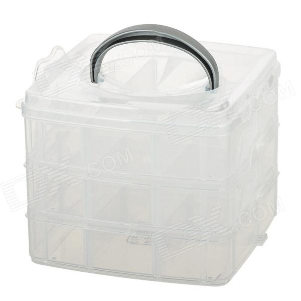JIAN HUA R677 3-Layer 18-Compartment Storage Box - Transparent White
