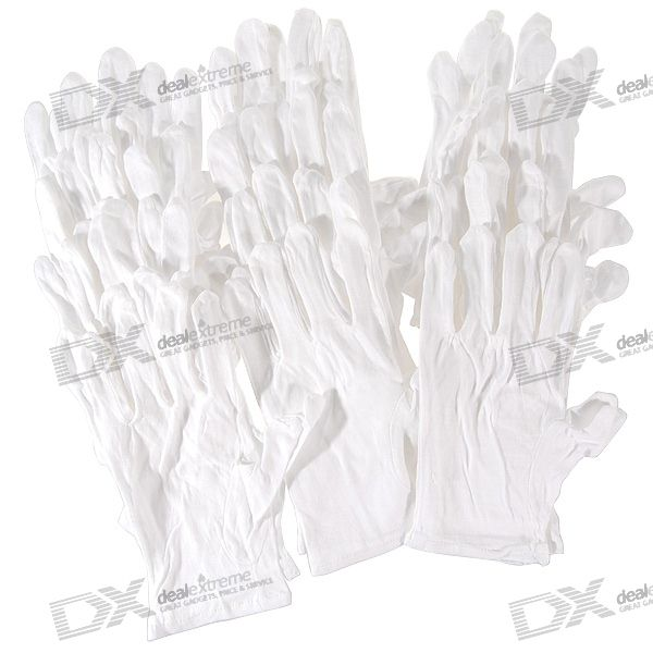 Disposable Cotton Hand Gloves for Avoiding Fingerprints (12-Pair)