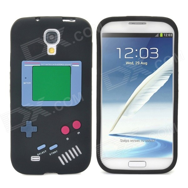 Retro Gameboy Style Protective Silicone Back Case for Samsung Galaxy S4 i9500 - Black cool basketball skin pattern silicone protective back case for samsung galaxy s4 i9500 black red