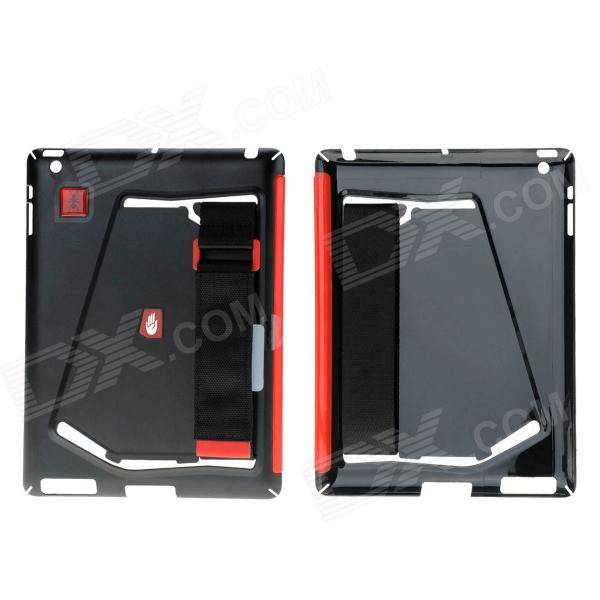 Multi-function Protective Plastic Back Case w/ Nylon Band for Ipad 2 / The New Ipad / Ipad 4 - Black