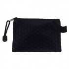 Football Grain PVC + Cotton Zippered Documents File Holder Pocket Bag - Black (3 PCS / Small-Size)