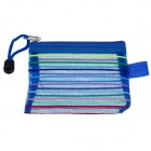 PVC Colorful Ribbon Zippered Documents File Holder Pocket Bag w/ Strap - Blue (3 PCS / Small-Size)