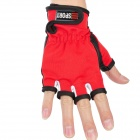 Sports Anti-Skid Half-Finger Gloves for Fishing - Black + Red