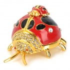 Cute Beetle Shape Rhinestone Jewelry Case for Earrings / Bracelet / Necklace - Red + Golden