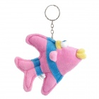 Cute Fish Style Short Plush Fabric Key Ring w/ Suction Cup - Pink + Blue + Yellow