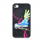 Colorfilm Protective Sport Shoes Pattern Plastic Back Case for Iphone 4 / 4S - Black