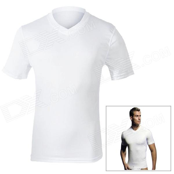 MOUNTAINPEAK Men's Outdoor Sports Quick Dry Bamboo Fiber Short Sleeve T-Shirt - White (Size XL) mountainpeak men s outdoor sports quick dry bamboo fiber short sleeve t shirt white size xl