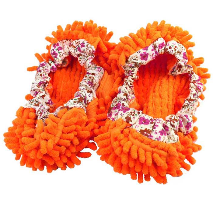 HQS-G101190 Lazy Chenille Fabric Washable Mop Slippers - Orange (Pair)