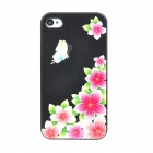 Colorfilm Protective Flower Pattern Plastic Back Case for Iphone 4 / 4S - Black