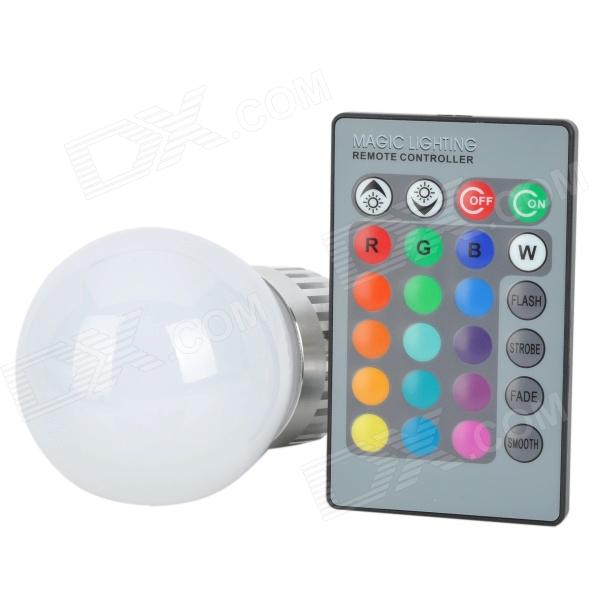 GU10 3W 45lm 640nm 1-LED RGB Bulb w/ Remote Controller - Milk White + Silver (DC 9~12V) - DXGU10<br>Brand N/A Model N/A Material Aluminum + Plastic Color Milk white + silver + black + grey Quantity 1 Emitter Type LED Total Emitters 1 Power 3 W Color BIN RGB Rate Voltage 85~265 V Luminous Flux Red: 30~35lm / green: 40~45lm / blue: 15~20 lm Chip Working Voltage 9~12V Color Temperature No K Wavelength Red: 635~640nm / green: 515~525nm / blue: 465~475 nm Connector Type GU10 Application Bedroom lighting stage lighting bar leisure club lighting etc. Features Life: 50000 hours; Source: RGB bulb; Remote controller for light on and dark gradual lighting changing; Remote controller battery (1 x 3V CR2025 battery included) Packing List 1 x Bulb 1 x Remote controller<br>