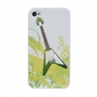 Colorfilm Protective Guitar Pattern Plastic Back Case for Iphone 4 / 4S - White + Green