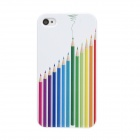 Colorfilm Protective Colorful Pen Pattern Plastic Back Case for Iphone 4 / 4S - White