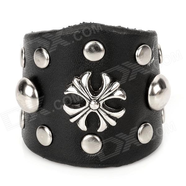 Fashion Punk Cross Rivets Ring for Men - Black