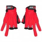 Sports 3 Half-Finger Anti-Skid Gloves for Fishing - Red + Black + Grey (Pair)