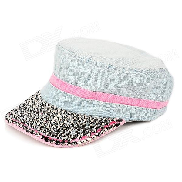 Fashion Rivets Denim Hot Sunbonnet - Light Blue + Pink