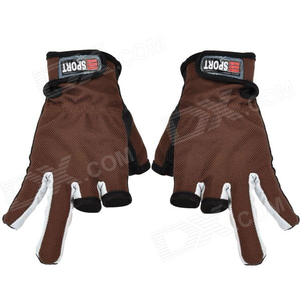 Sports 3 Half-Finger Anti-Skid Gloves - Brown + Black + Grey (Pair)