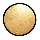 "Nice Foto GS-2-22"" Folding Round Shaped Dual Side Flash Reflector Panel - Golden + Silver + Black"