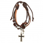 Top-Lederband w / Beads + Kreuz Armband - Coffee