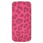 Leopard Pattern Protective PU Leather + Micro Fiber Case for Iphone 5 - Deep Pink