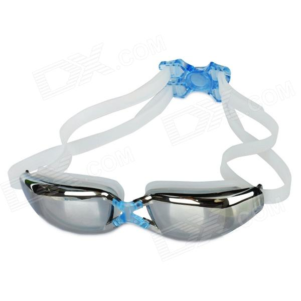 G-8020M Anti-Fog Silicone PC Lens Swimming Goggles - Blue + White
