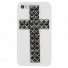 3D Cross Pattern Plastic Back Case for iPhone 4 / 4S - White + Grey