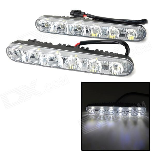 XT004 6W 90lm 6-LED White Car Daytime Running Light - Black (2 PCS / DC 12V) brand new universal 40 w 6 inch 12 v led car work light daytime running lights combo light off road 4 x 4 truck light