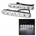 XT004 6W 90lm 6-LED White Car Daytime Running Light - Black (2 PCS / DC 12V)