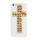 3D Cross Pattern Plastic Back Case for Iphone 5 - White + Golden