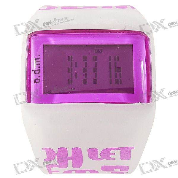 Odm LED Backlit Dot-Matrix Fashion Watch with Weekday Display (Purple)