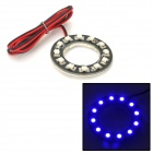 1W 80lm 12-SMD 3528 LED Blue Car Angel Eye for Daytime Lighting - White + Black (DC 12V)