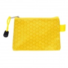 Football Grain PVC + Cotton Zippered Documents File Holder Pocket Bag - Yellow (3 PCS / Small-Size)