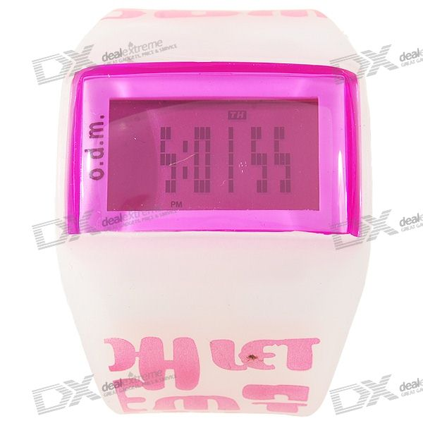 Odm LED Backlit Dot-Matrix Fashion Watch with Weekday Display (Pink)