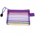 PVC Ribbon Zippered Documents File Holder Pocket Bag w/ Strap - Purple (3 PCS / Small-Size)