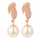 KCCHSTAR Leaf Style Rhinestone Pearls Earrings - Golden + White