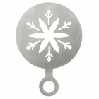 Christmas Snowflake Pattern Stainless Steel Coffee Cappuccino Latte Art Mold - Silver