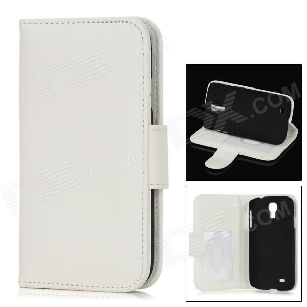 Protective Flip-Open PU Leather Case for Samsung Galaxy S4 i9500 - White