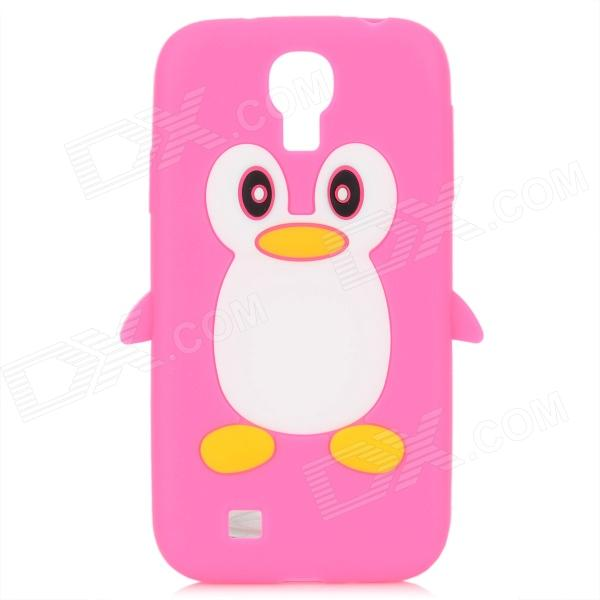 Protective Penguin Style Silicone Back Case for Samsung Galaxy S4 i9500 - Deep Pink + White cool basketball skin pattern silicone protective back case for samsung galaxy s4 i9500 black red